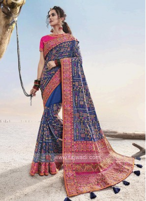 Dark Blue & Pink Saree