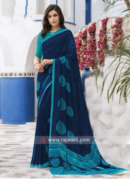 Dark Blue Printed Sari with Sky Blue Blouse