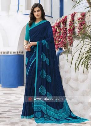 Dark Blue Printed Sari with Sky Blue Blouse