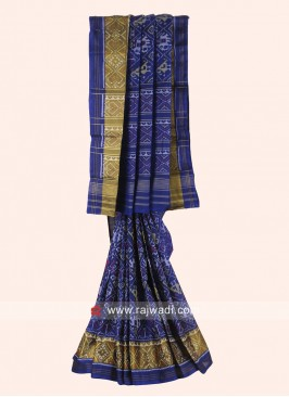 Dark Blue Pure Silk Patola Saree