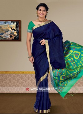 Dark Blue Pure Silk Saree