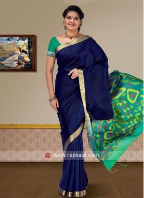 Dark Blue Pure Silk Saree