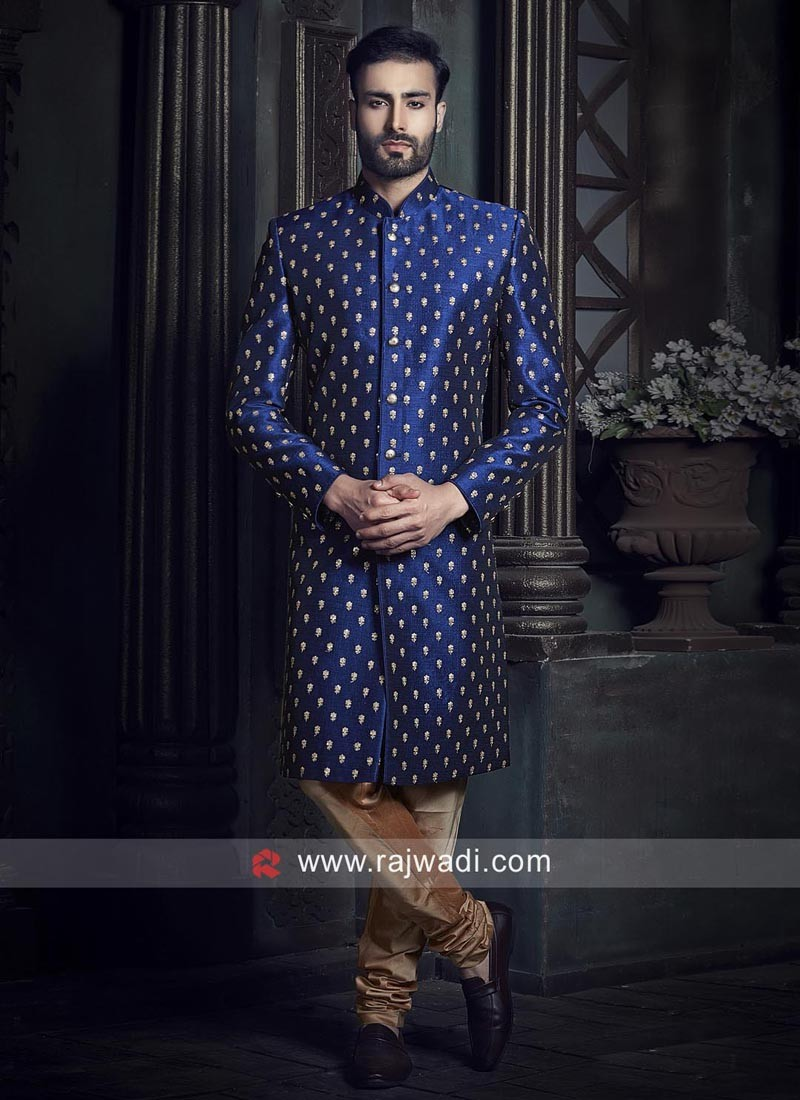 Dark blue Raw Silk Indo Western Sherwani