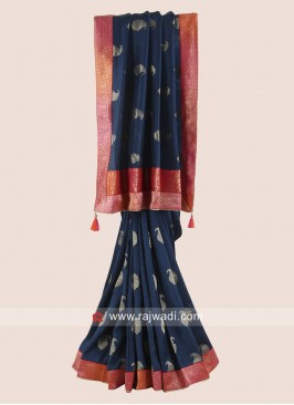Dark Blue Saree with Brocade Border