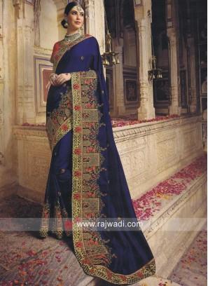 Dark Blue Saree with Contrast Blouse