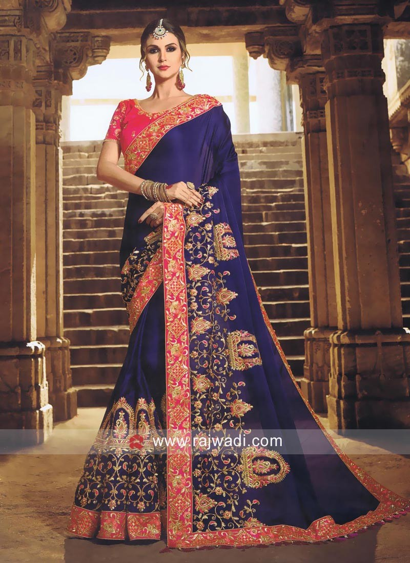 Dark Blue Saree with Contrast Blouse