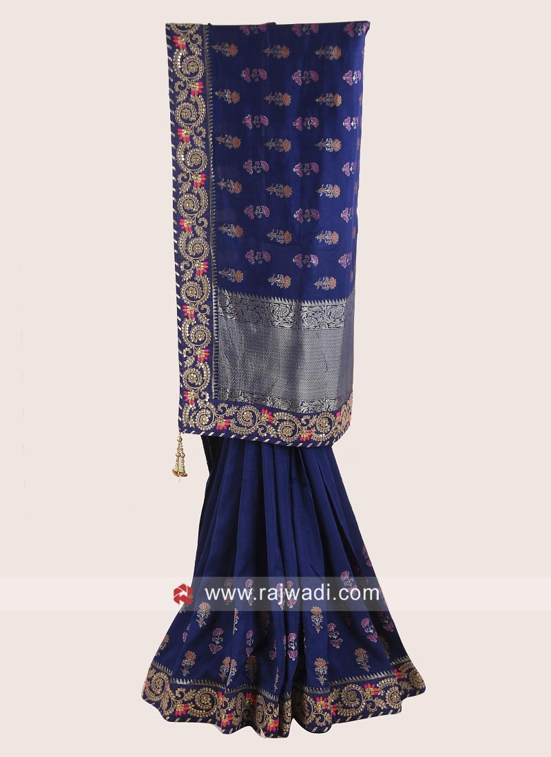 Dark Blue Saree with Embroidery Border