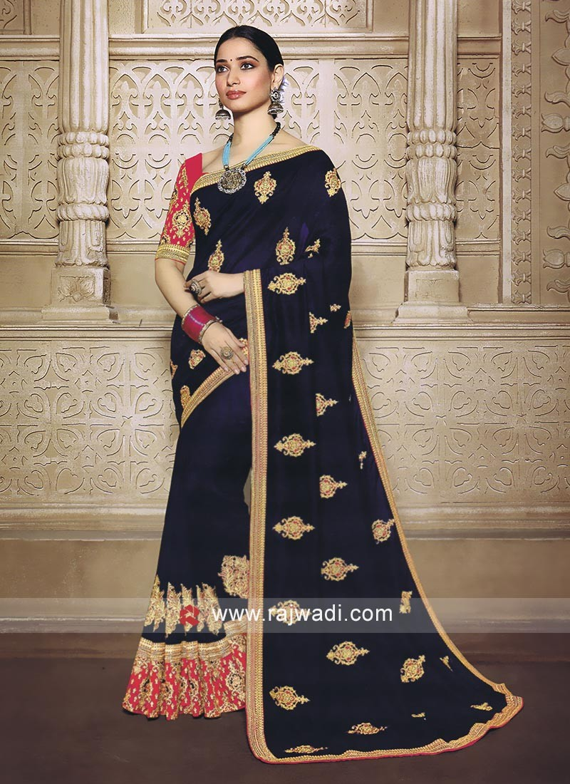 Dark blue saree with pink blouse