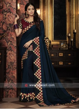 Dark Blue Satin Silk Saree