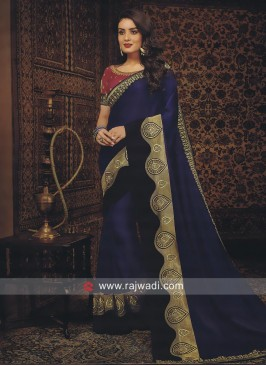 Dark Blue Satin Silk Saree with Blouse