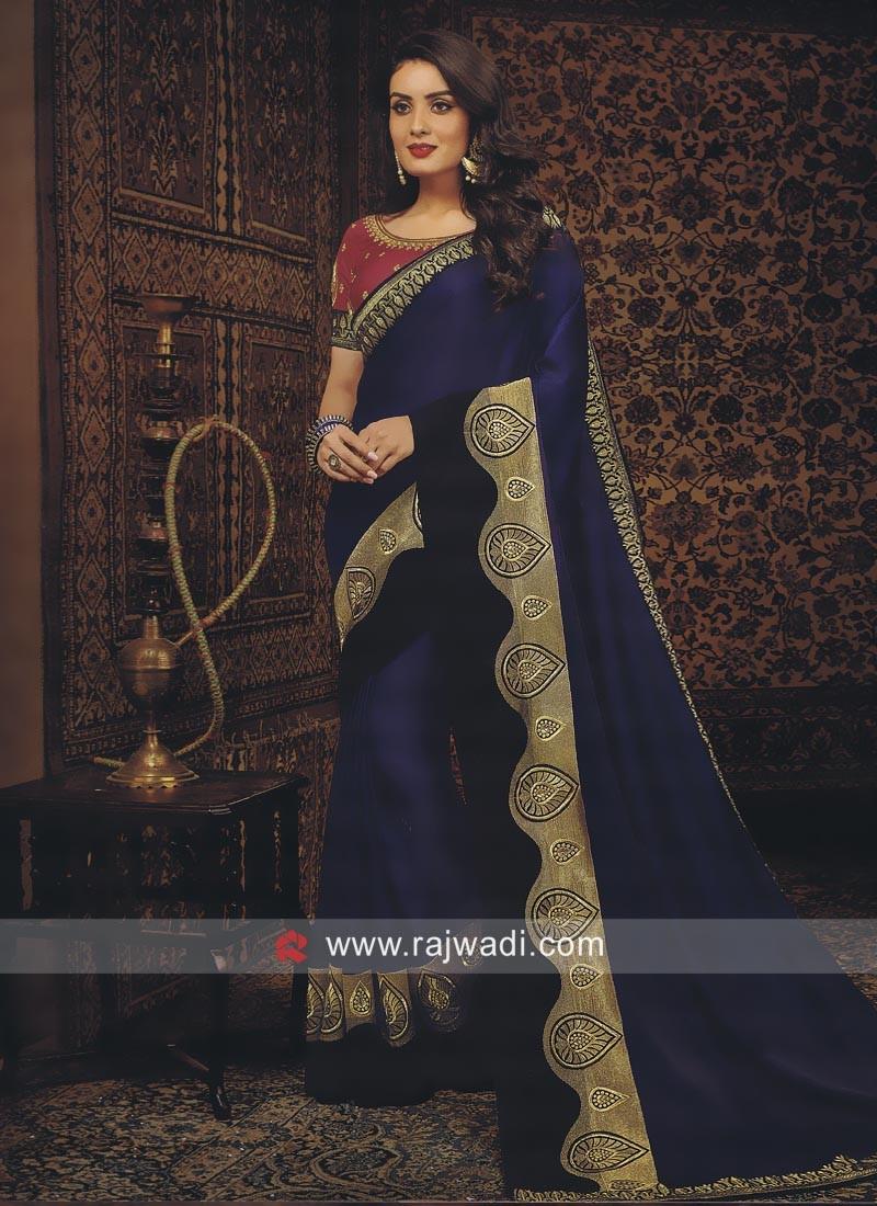 Dark Blue Satin Silk Saree with Blouse