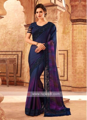 Dark Blue Shaded Satin Silk Saree