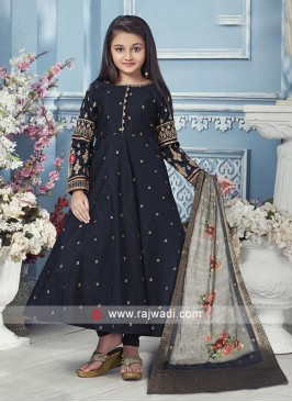 Dark Blue silk anarkali with matching salwar and dupatta.