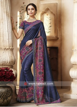 Dark Blue Stone Work Saree