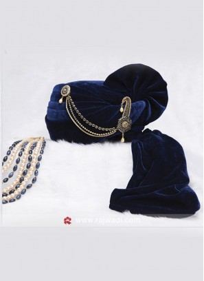 Dark Blue Velvet Safa