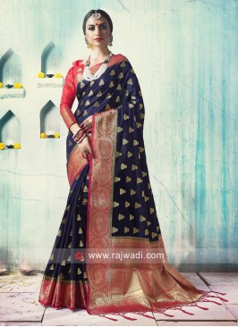 Dark Blue Weaved Saree with Deep Pink Blouse