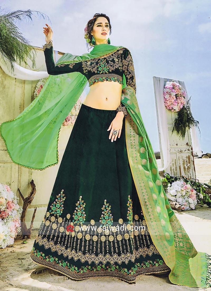 e87aa196c3 Dark Bottle Green Banarasi Silk Lehenga. Hover to zoom