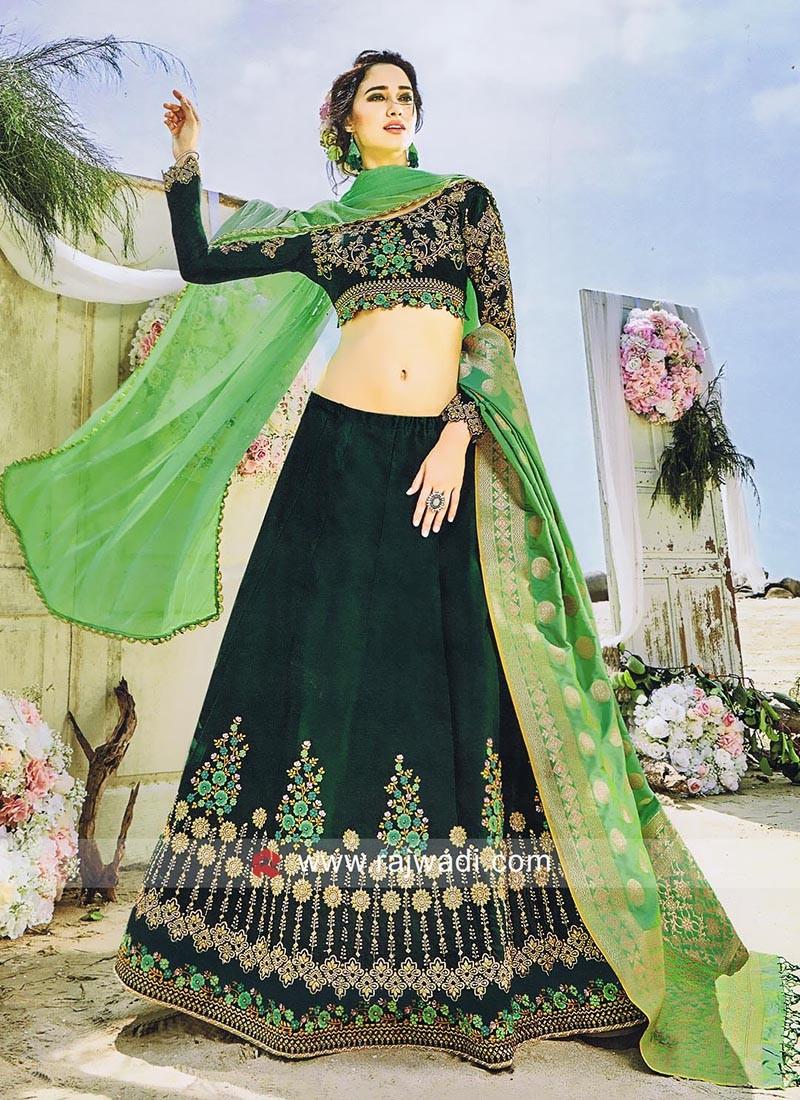 Dark Bottle Green Banarasi Silk Lehenga