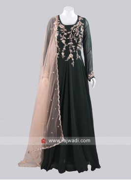 Dark Bottle Green Long Gown with Dupatta