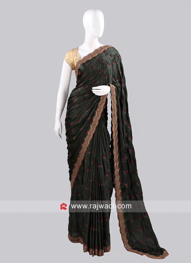 Dark Bottle Green Sari with Contrast Blouse