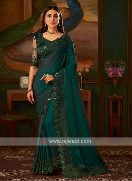 Dark bottle green satin silk saree