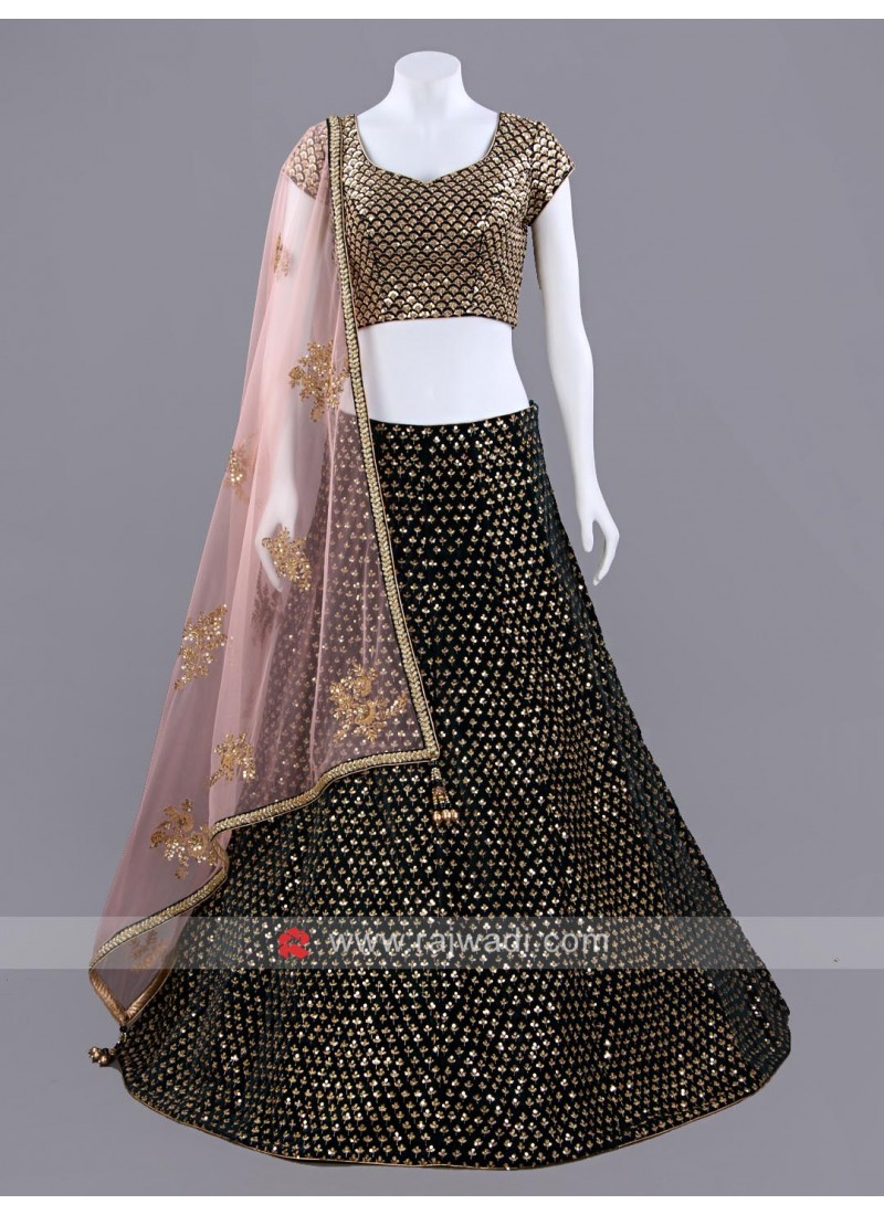 Dark Bottle Green Sequins Work Choli Set