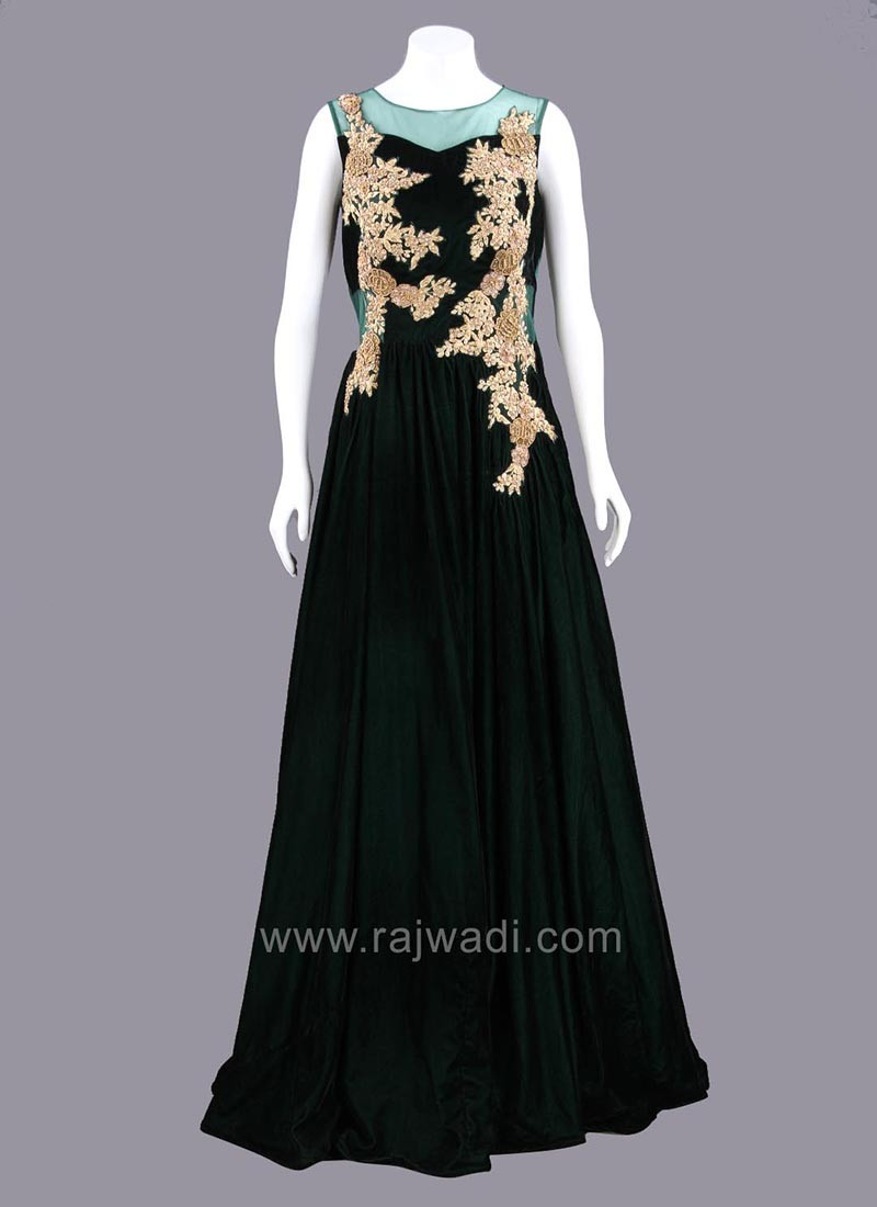 Dark Bottle Green Velvet Gown
