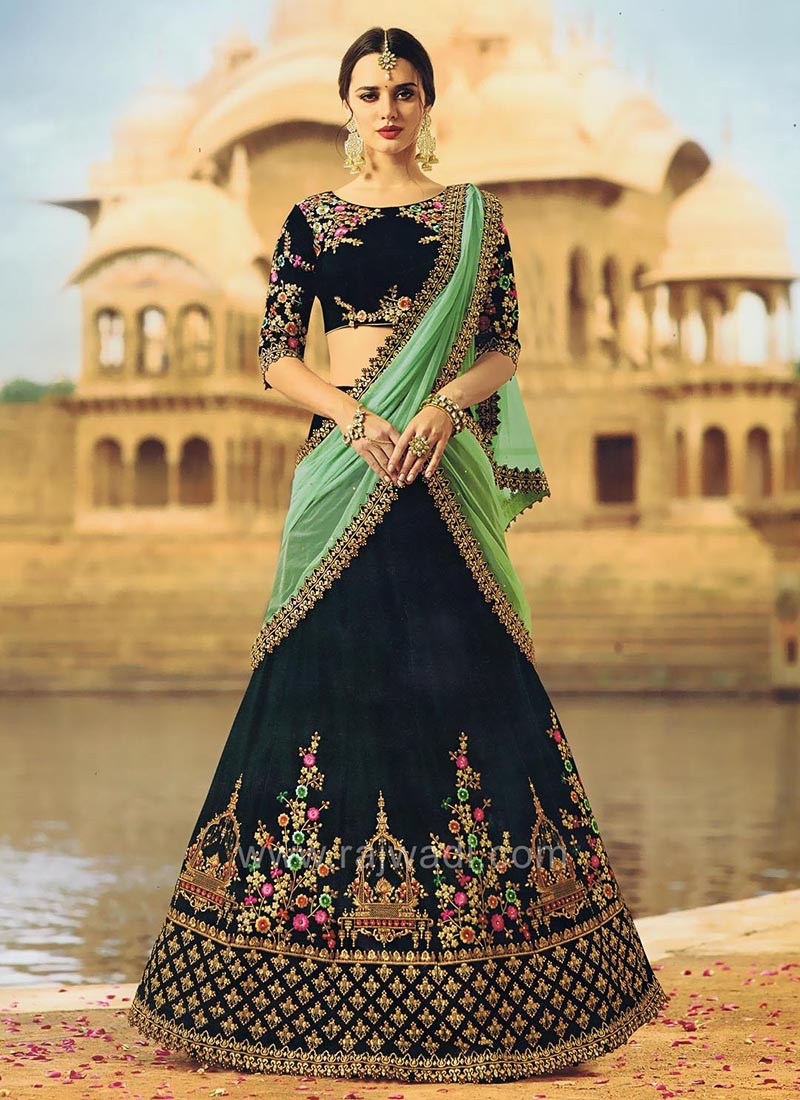Dark Bottle Green Velvet Lehenga Set