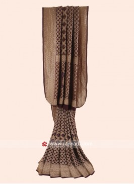 Dark Brown Bandhani Woven Saree