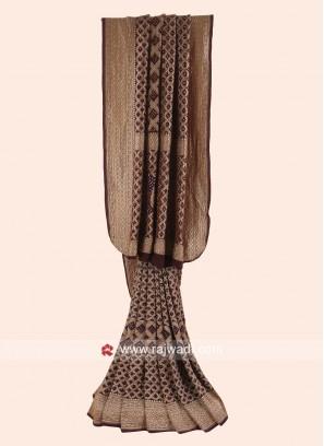 Dark Brown Bandhani Woven Saree