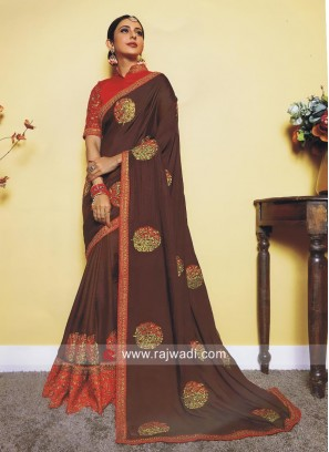 Dark Brown Rakul Preet Singh Patch Work Saree
