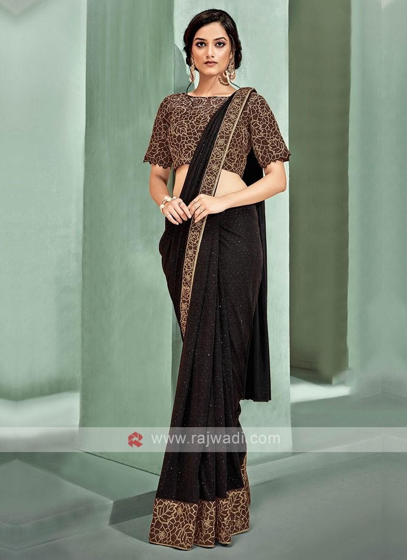 Dark brown ready pleated saree