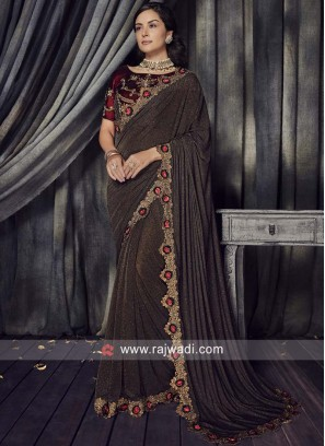Dark Brown Saree with Cut Work Border