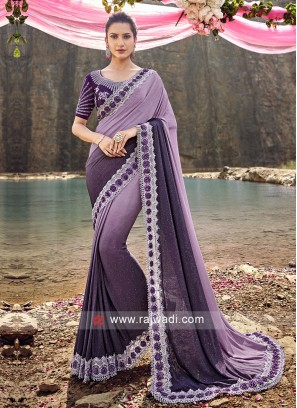 Purple Shaded Saree with Designers Border