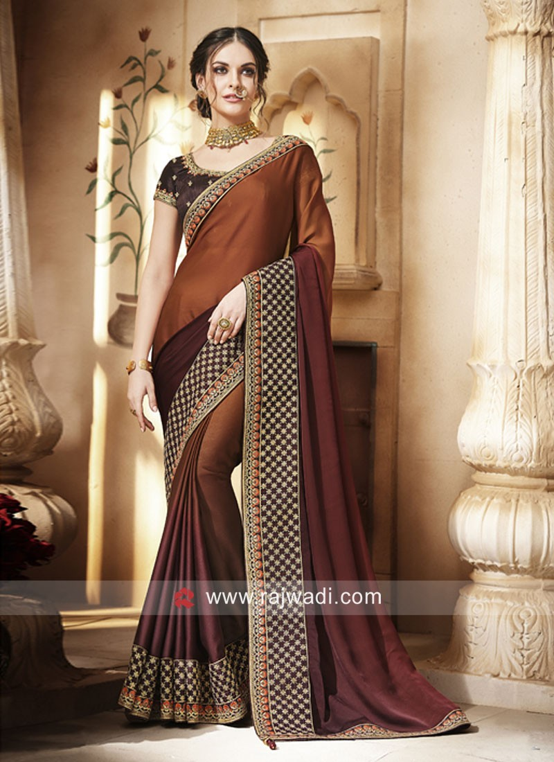 Dark Brown Shaded Saree with Blouse