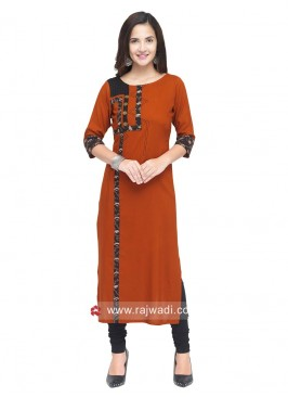 Dark Brown Straight Fit Kurti