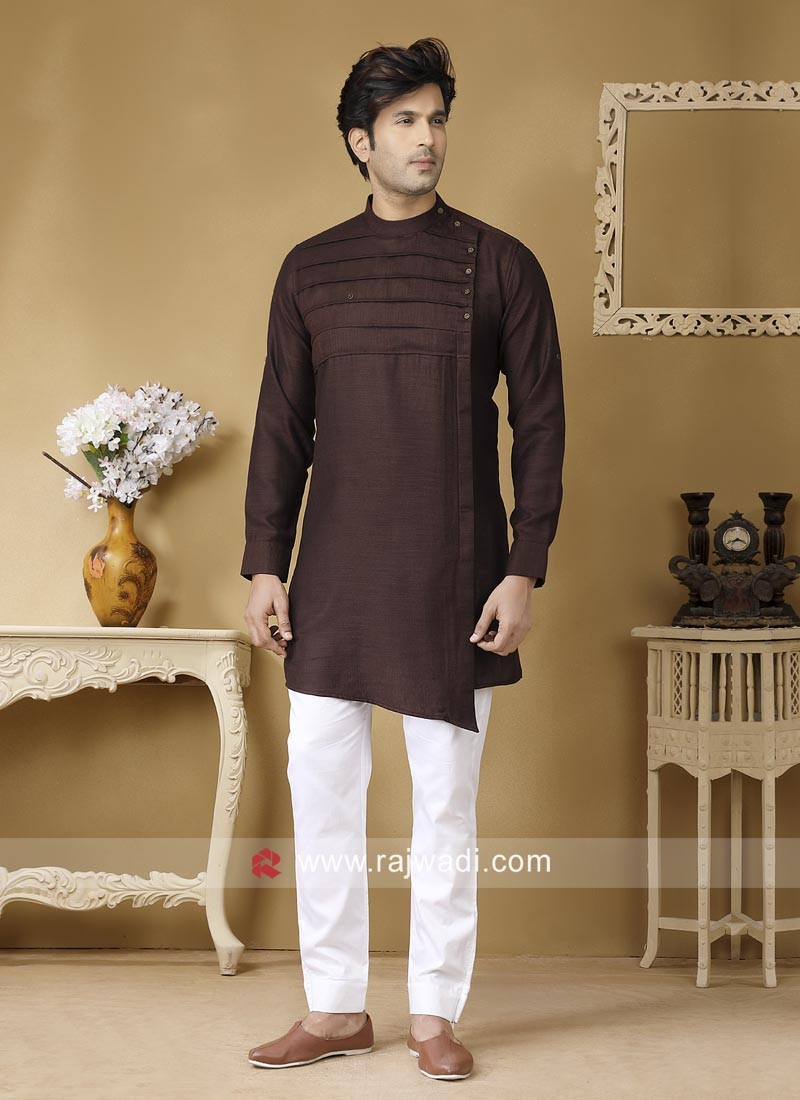 Dark Coffee Color Pathani Set For Party