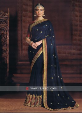 Dark Cyan Tamannaah Bhatia Saree with Blouse