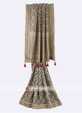 Dark gery color georgette saree
