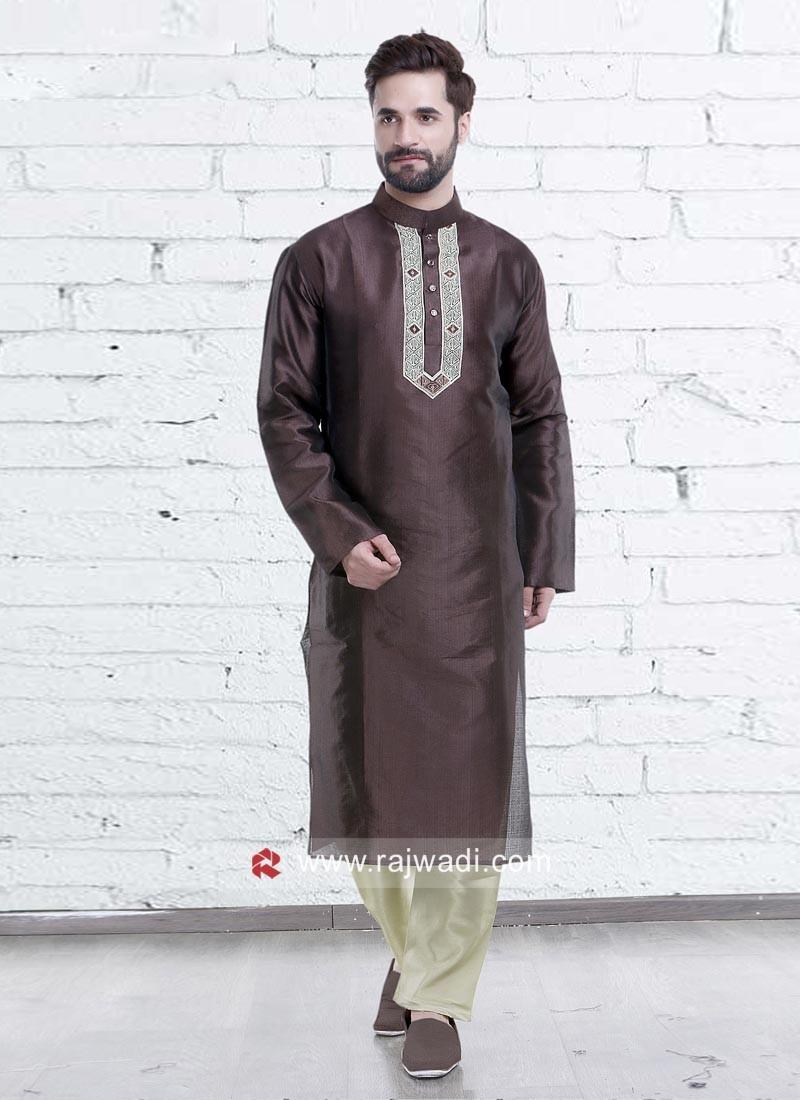 Attractive Coffee Color Kurta Pajama