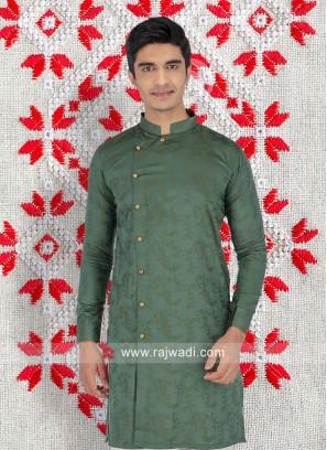 Cotton Fabric Green Color Kurta