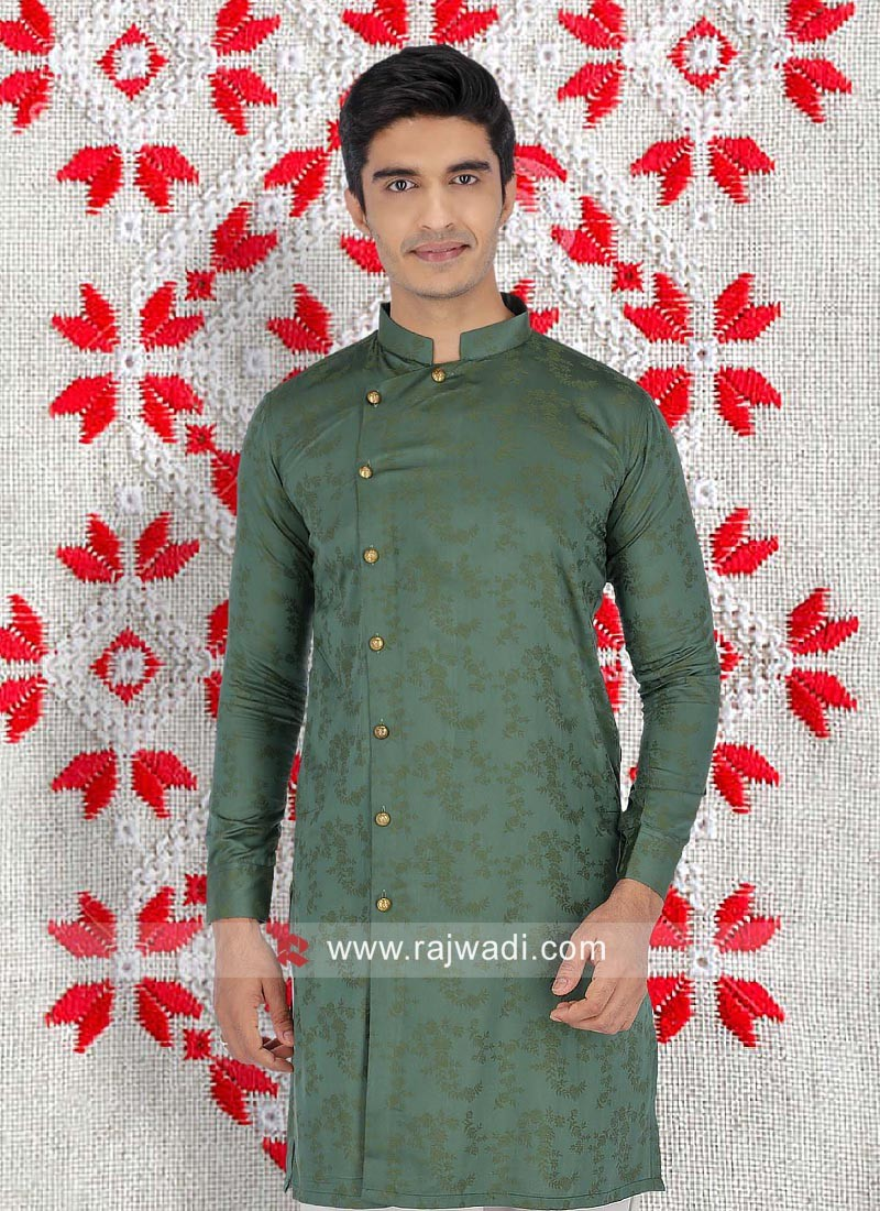 Cotton Fabric Green Color Kurta