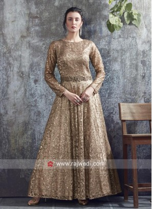 Dark Gold Heavy Full Length Gown