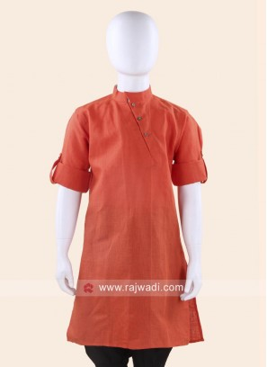 Orange Linen Cotton Kurta