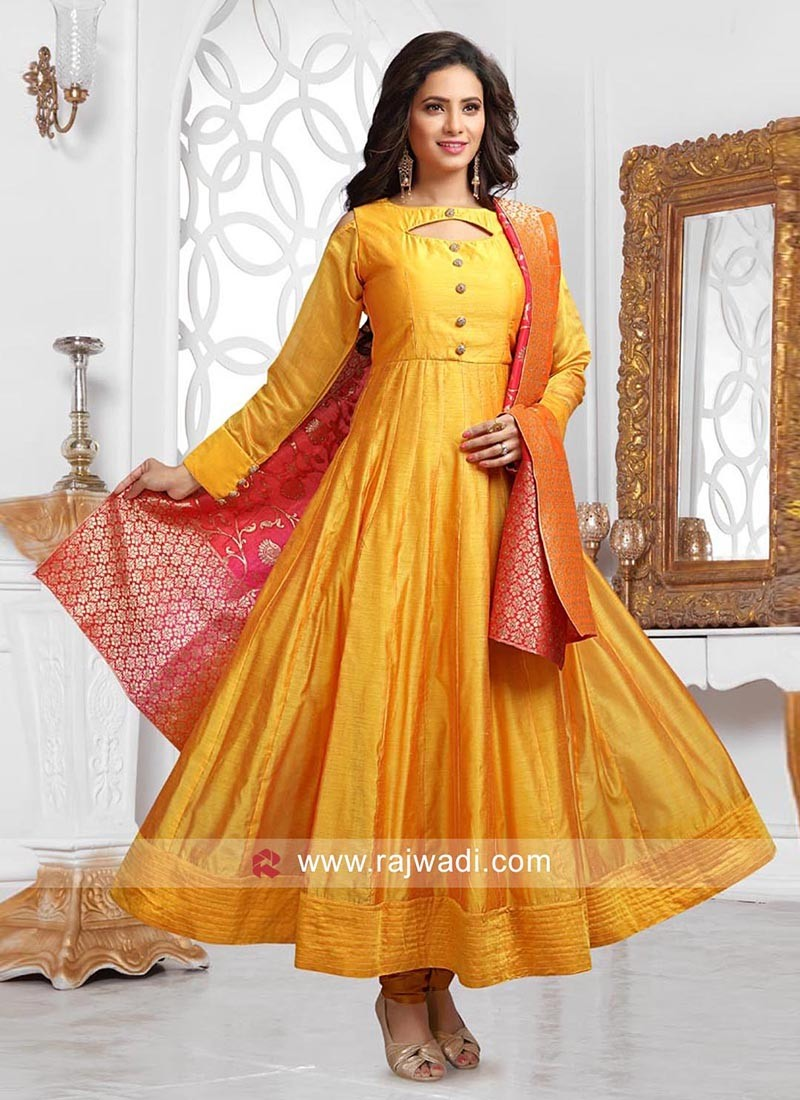 Dark Golden Anarkali Dress with Buttons