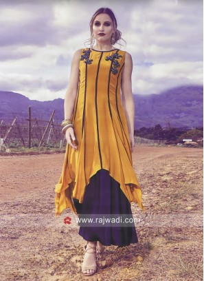 Dark Golden and Purple Layered Kurti