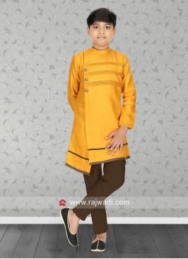 Round Neck Golden Yellow Kurta Set