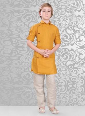 Dark Golden Color Linen Fabric Kurta Pajama