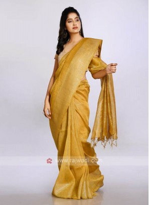 Dark golden color plain saree