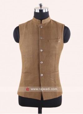 Art Silk Brown Nehru Jacket